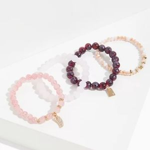 NWT PINK BEAD STRETCH BRACELET SET - SET OF 4